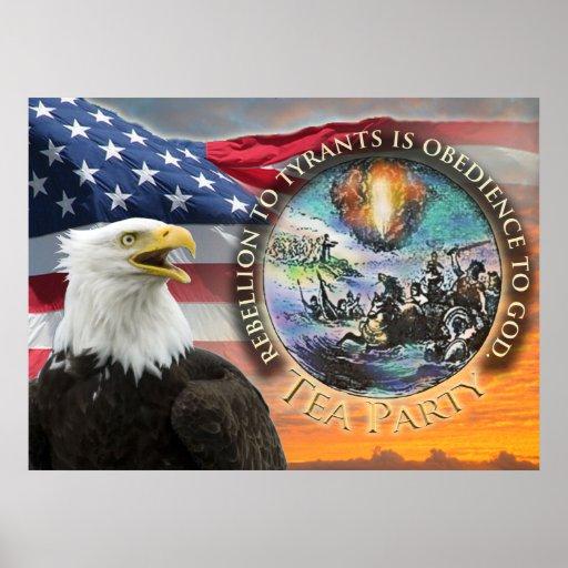 Poster de la fiesta del té de Eagle de la bandera