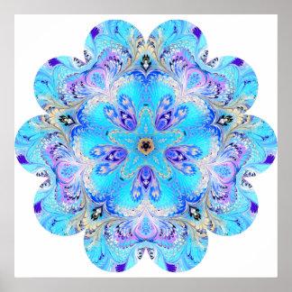 Poster de la flor del caleidoscopio del pavo real