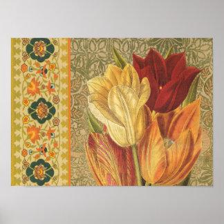 Poster de la flor del tulipán del vintage