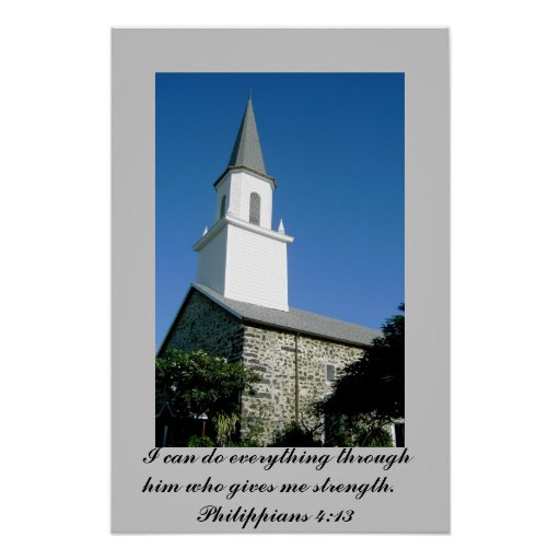 Poster de la foto de la iglesia con 4:13 de los fi