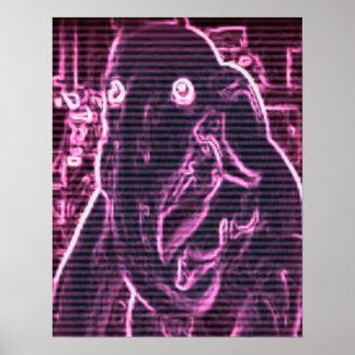 Poster de la foto del elefante rosado para el chic
