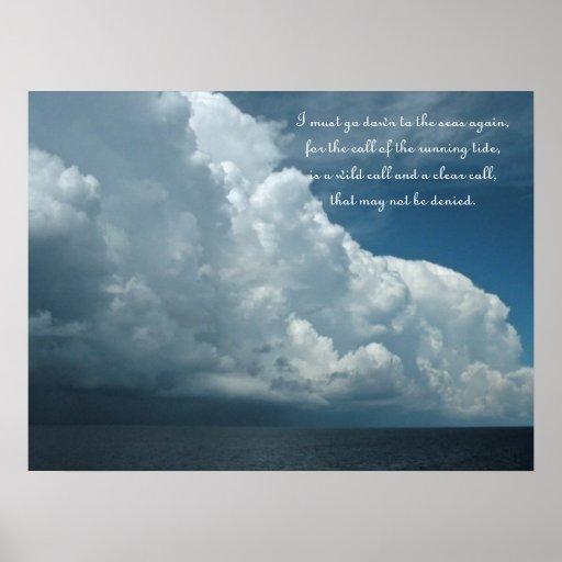 Poster de la foto del océano del poema del navegan
