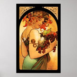 Poster de la fruta de Alfonso Mucha Póster