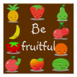 Poster de la fruta de Kawaii
