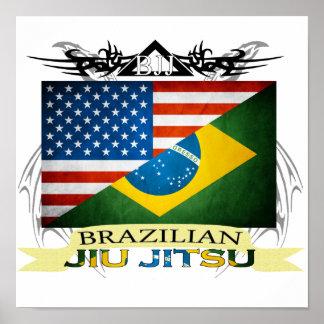 Poster de la fusión de la bandera de Jiu JItsu del