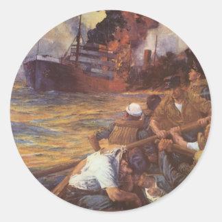 Poster de la guerra del vintage - hundimiento de pegatina redonda