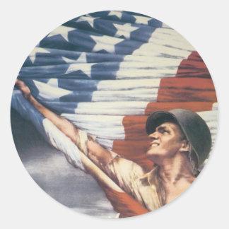 Poster de la guerra del vintage - independencia pegatina redonda