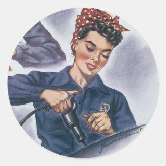 Poster de la guerra del vintage - pegatinas de los etiquetas redondas