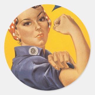 Poster de la guerra del vintage - Rosie los Pegatina Redonda