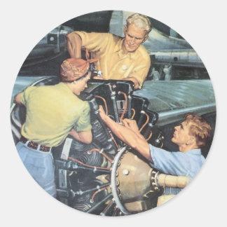 Poster de la guerra del vintage - trabajadores de pegatina redonda