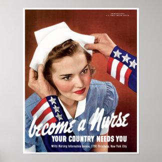 Poster de la guerra mundial de la enfermera del vi