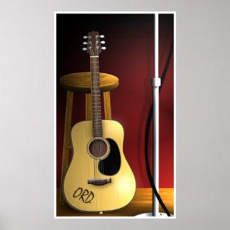 Poster de la guitarra acústica de la repetición qu