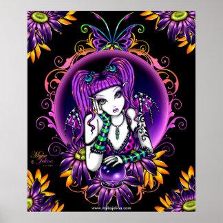 Poster de la hada del arco iris de la flor de la b