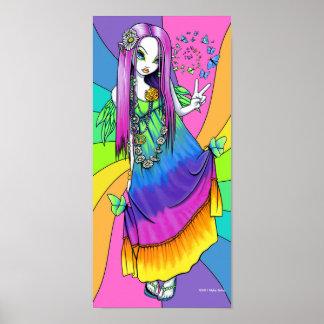 Poster de la hada del Hippie de la paz del arco ir Póster