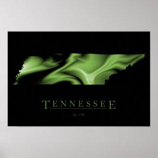 Poster de la imagen del mapa del estado de Tenness