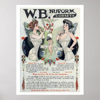 Poster de la impresión 3 del anuncio del corsé del