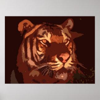 Poster de la impresión de la cara del tigre de Bla