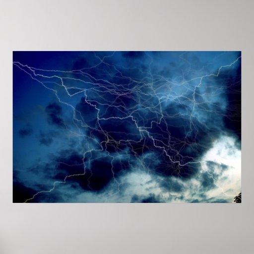 Poster de la impresión de la tormenta del relámpag