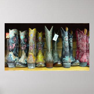 Poster de la impresión de las botas de vaquero del
