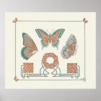 Poster de la impresión de las mariposas de Nouveau