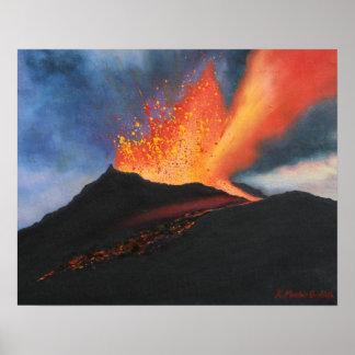 Poster de la impresión del arte del volcán