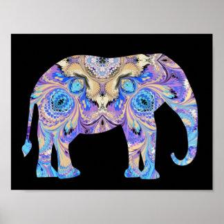 Poster de la impresión del elefante del caleidosco