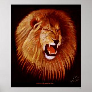 Poster de la impresión del león del rugido