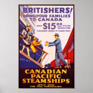 Poster de la inmigración del vintage a Canadá Póster