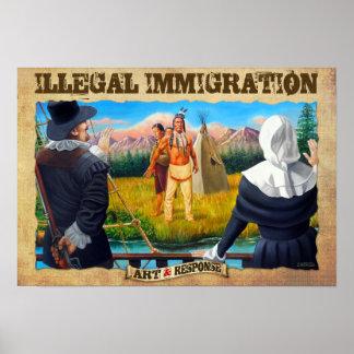Poster de la inmigración ilegal póster