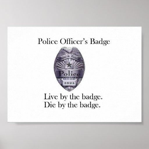 Poster de la insignia del oficial de policía