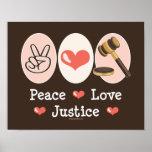 Poster de la justicia del amor de la paz