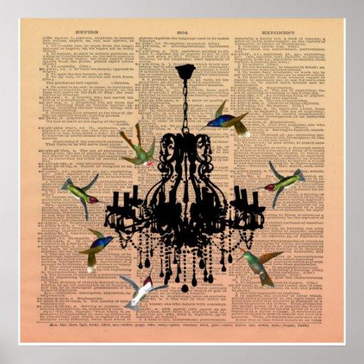 Poster de la lámpara del colibrí de la página del