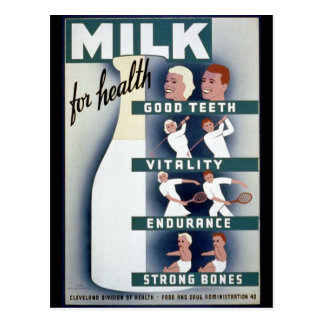 Poster de la leche 1940 tarjeta postal