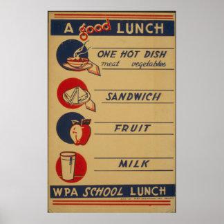 Poster de la leche del almuerzo escolar del
