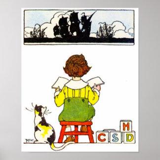 Poster de la lectura del muchacho póster