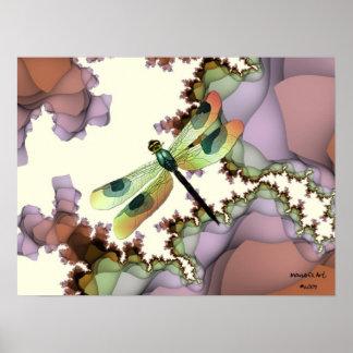 Poster de la libélula (terroso) póster