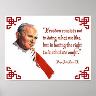 Poster de la libertad de Juan Pablo II