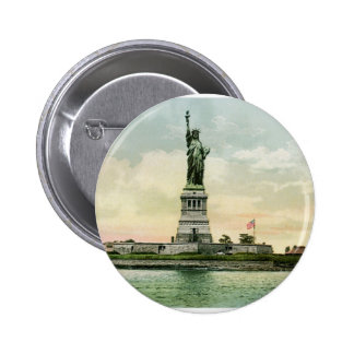"Poster de la libertad del vintage ""estatua"". Nueva Pin Redondo 5 Cm"