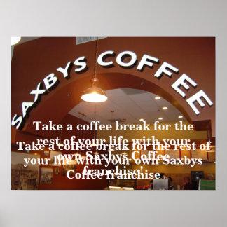 Poster de la licencia del café de Saxbys