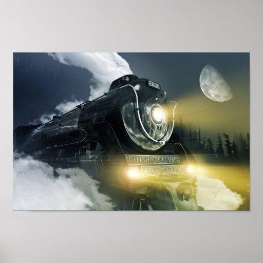 Poster de la locomotora de vapor