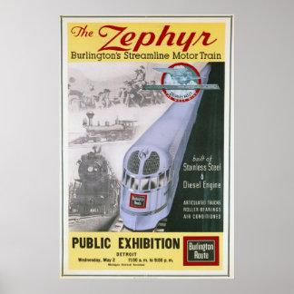 Poster de la locomotora del Zephyr de Burlington d