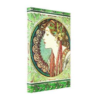 Poster de la lona del laurel de Alfonso Mucha Lona Envuelta Para Galerías
