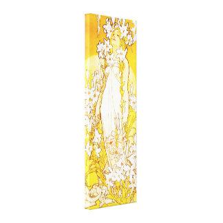 Poster de la lona del lirio de Alfonso Mucha Lona Envuelta Para Galerias
