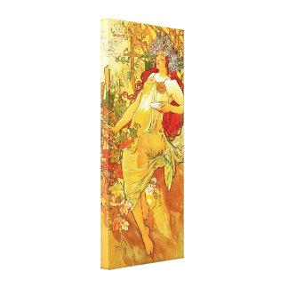 Poster de la lona del otoño de Alfonso Mucha Impresiones En Lona Estiradas