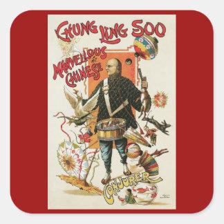 Poster de la magia del vintage; Mago Chungkin Ling Calcomania Cuadradas