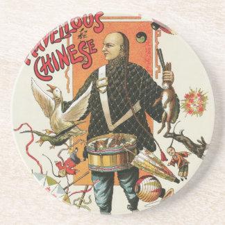 Poster de la magia del vintage; Mago Chungkin Ling Posavaso Para Bebida
