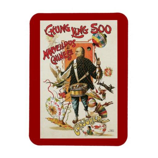 Poster de la magia del vintage; Mago Chungkin Ling Rectangle Magnet