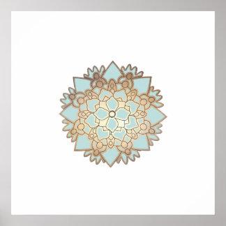 Poster de la mandala de la flor de Lotus azul Póster