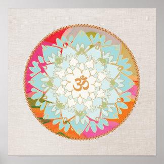 Poster de la mandala de la flor de Lotus Póster