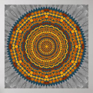 Poster de la mandala de la flor del Calendula